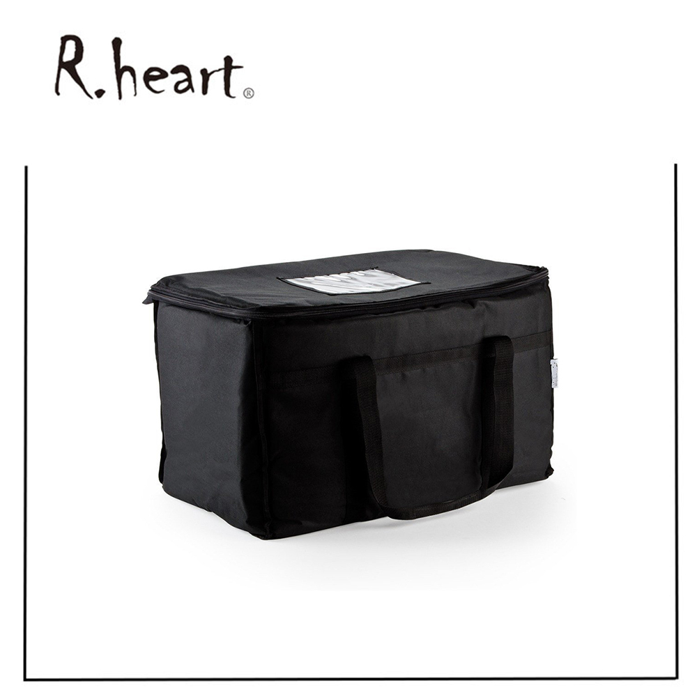 Insulated Nylon Heated Food Delivery Bag Black Food Packaging Nylon Bag