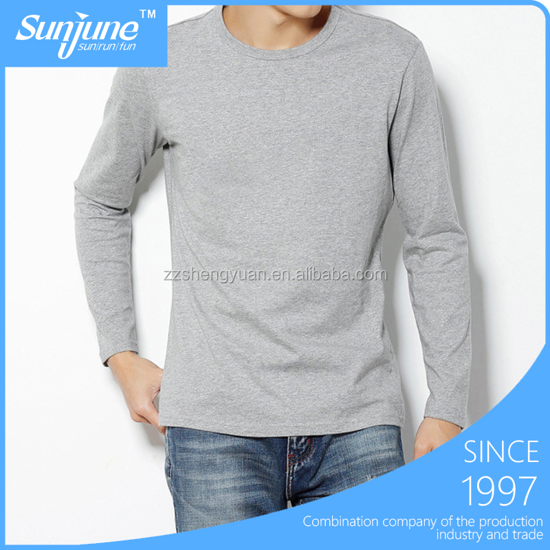 Cotton mens long sleeve t-shirt wholesale in China