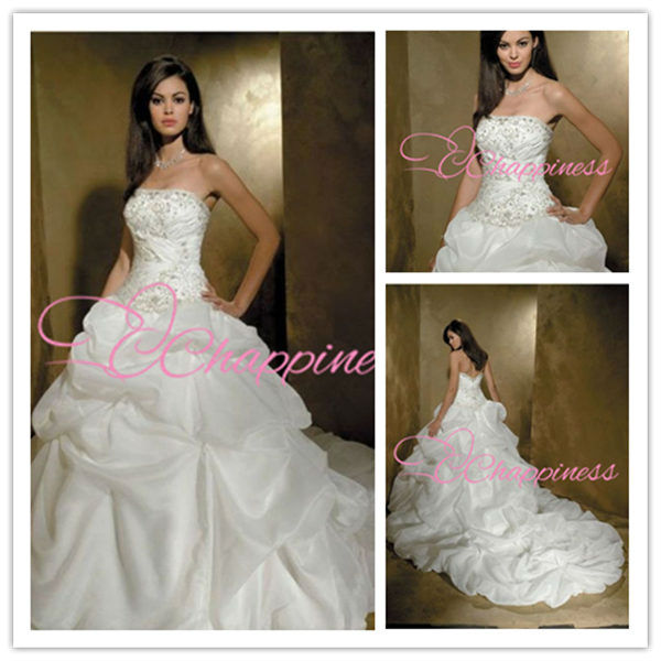 Strapless ruffle ball gowns hot sale wedding dresses