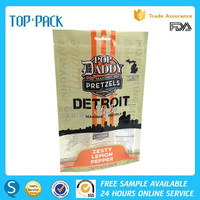 Resealable plastic clear window front food grade beef jerky packaging bags with zipper custom