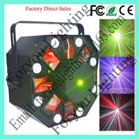 Economic exported 8*1w white led,5*3w rgbwa led,150mw red &50mw green laser eight eyes laser effect light