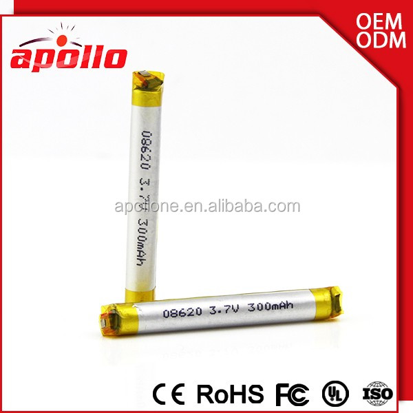 Rechargeable battery for electronics mini 08620 batteries 3.7V 300mAh thin lipo battery