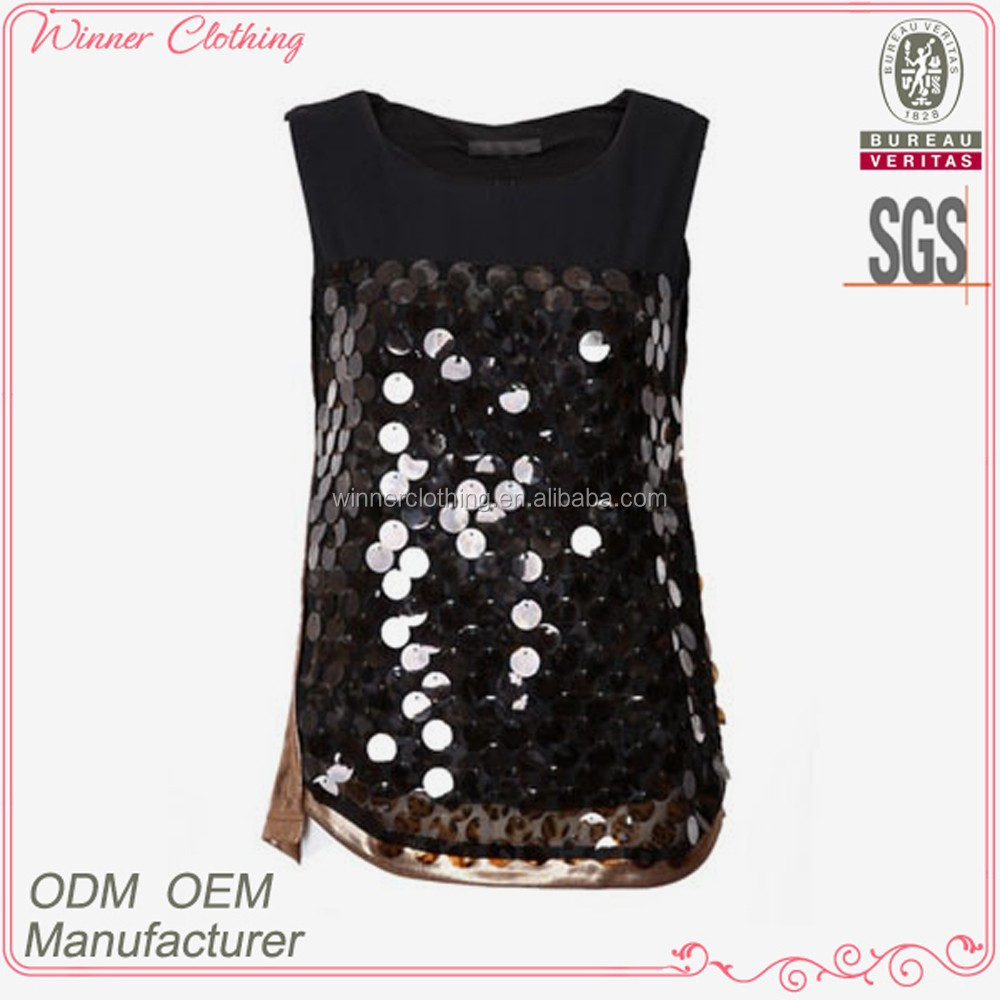 ladies top fashion sequin beaded sexy blouses for evening wear