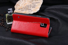 For Samsung Galaxy S5 i9600 Wholesales Simple Stand Litchi Style PU Leather Case