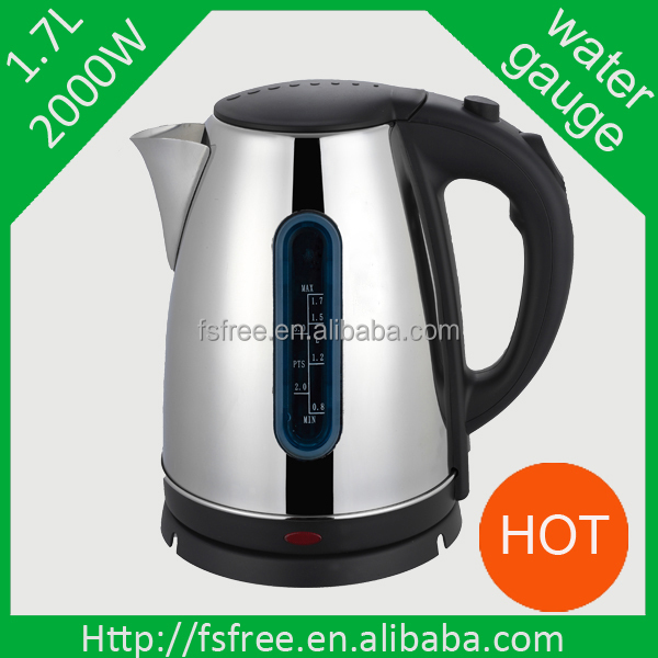 2014 Hot Sale Home Appliance 1.7L Stainless Steel Electric Kettle