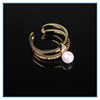 European style multilayer hollow brass ring beautiful pearl ring designs for women