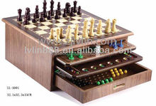 Dark Nature Wood Color 10 in 1 Multiple Wooden Chess Board Game Set