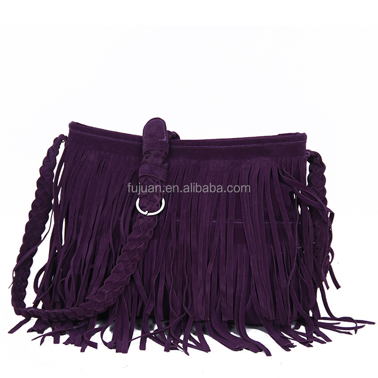 Factory sales fashion bags 5 colors thick crossbody suede fringe bag for women girls