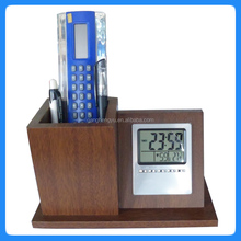 High quality wooden time temperature display desktop office pen holder clock