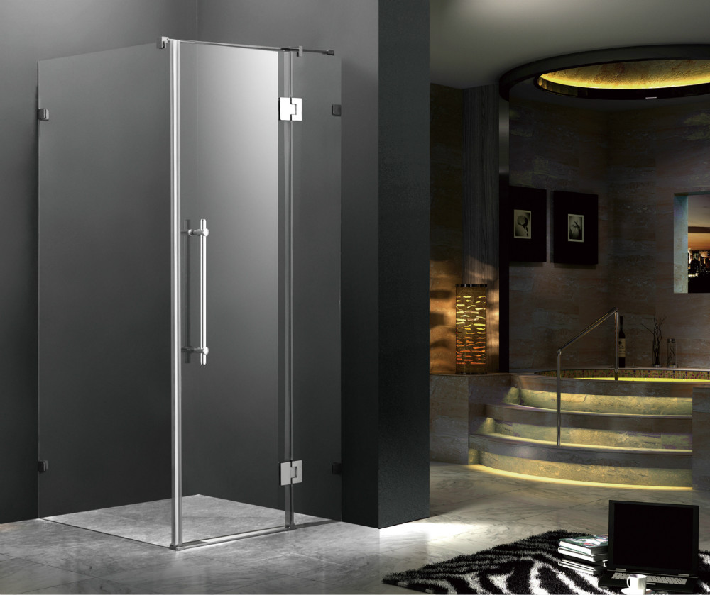 2016 cheap price tempered glass hinge door frameless free standing shower enclosure