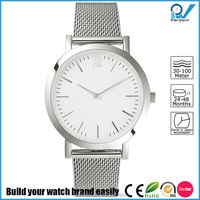 Subtle style watch for women polished stainless steel 33mm casing mesh steel band slim body watch