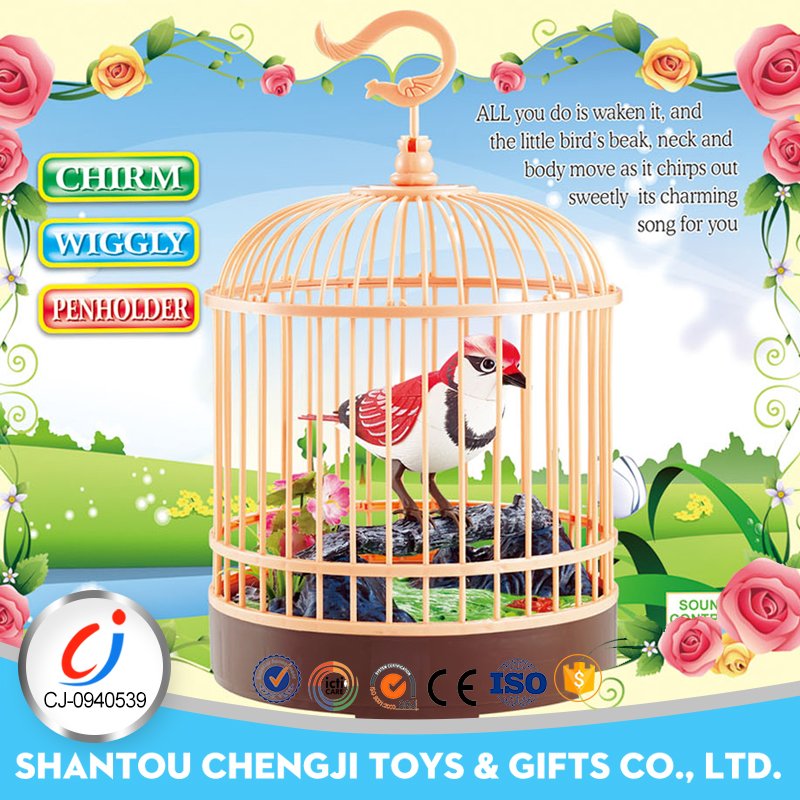 New sound control bird cage plastic pet B/O parrot toys