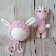 Handmade Pink Cute Mohair Baby Animal Hat Knitted Stuffed Newborn Reindeer Toy Baby Girl Animal Bonnet and Doll Set Props