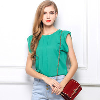 S M L XL Blusas Femininas Summer Chiffon Blouse For Female O-Neck Short Butterfly Sleeve Pleated Shirt Solid Color 4 Designs