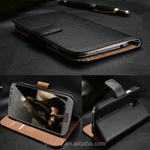 Luxury Genuine Real Leather Flip Cover Wallet Case for Motorola Moto E