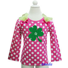 St Patricks Day Lime Green Ruffles Shamrock Hot Pink White Polka Dots Long Sleeves Top 3M-7Y