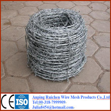 Zinc coated 4 barbed points 14 gauge high quality barbed wire ( factory )