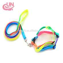 Comfort Soft Breathable Dog Harness Pet Nylon Vest Dogs Colorful Chest Strap pet dog Rainbow chain rope