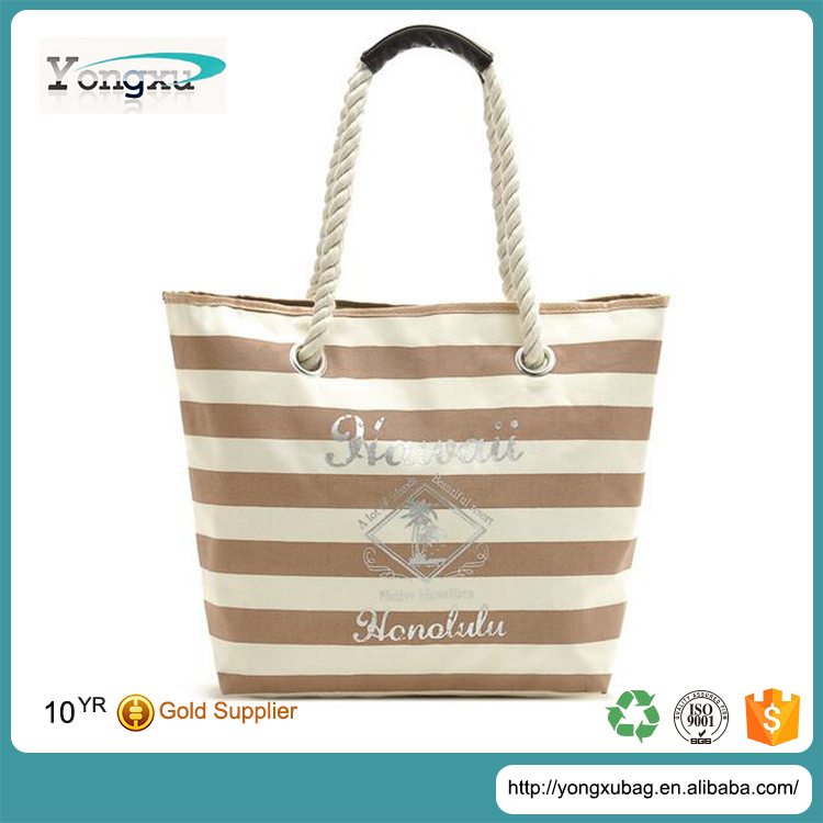 customized natural color canvas beach bag rope handle with eyelets
