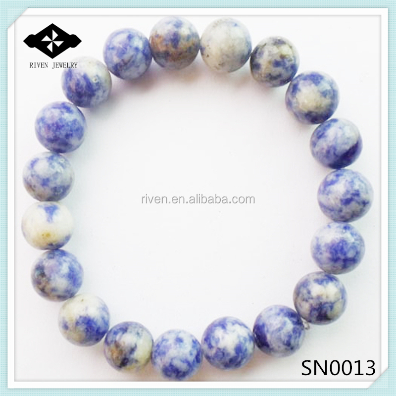 SN0013 Stretch 4mm 6mm 8mm 10mm Round Beads Natural blue stone bracelet.jpg