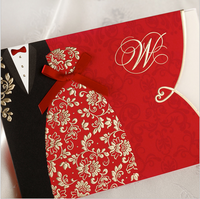 CW1051Custom Red Wholesale hollow Brids and Groom laser cut Wedding Invitation Cards,wedding invatations card,wedding decoration