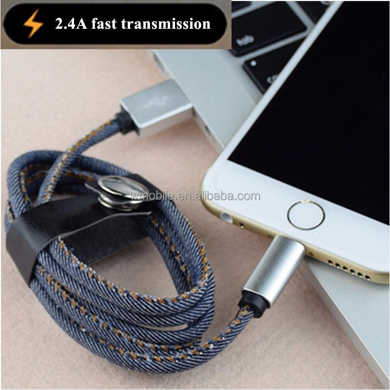 2.1A Data Fast Charging USB Charger Cable Jean Cloth 8pin USB cable for iPhone 6 6 Plus 5 s s 5 iPadmini