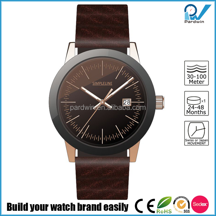 Wholesale Custom premium Italian nappa leather wristband PVD rose gold contrasting black bezel Watches Ladies Women