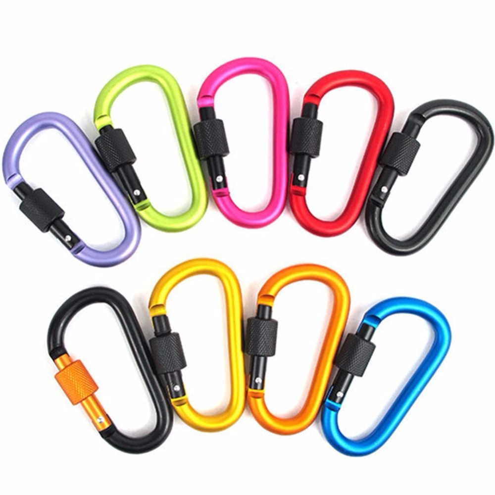 Locking Carabiner Clip Improved Strong Screw Lock 3 Inch Aluminium Alloy D-ring Pack of 10 for Home or Outdoor Activities Camp