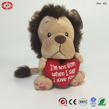 Valentines cute lion soft plush stuffed animal toy with heart