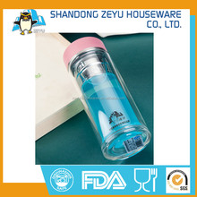 OEM / ODM Pyrex Glass Handcrafted Double Wall Insulated Water Bottle / glass water bottle with straw