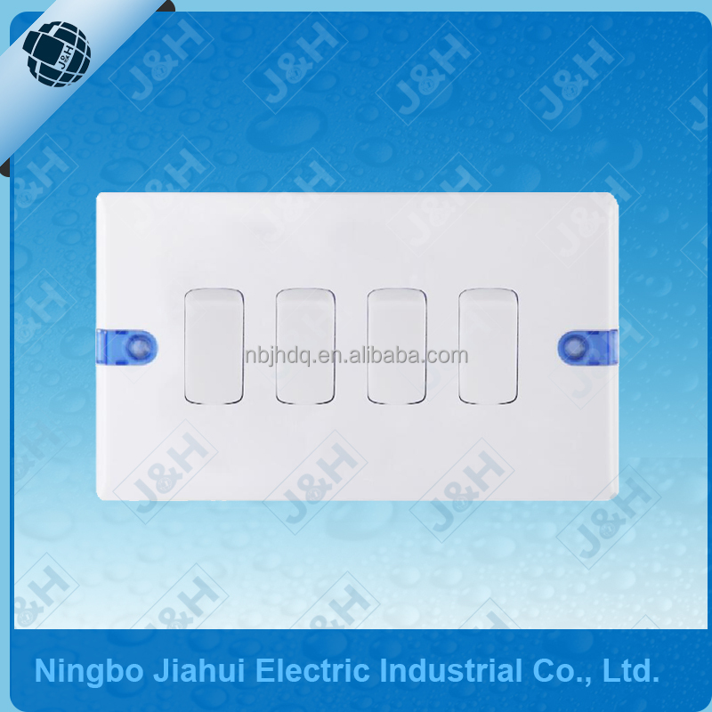 JHE2541 Good Quality British Standard Wall Switch 4 Gang 1 Way Wall Rocker Switch