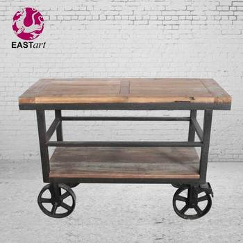 COFFEE TABLE, , Industrial Furniture Coffee Table with Wheels