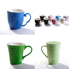 wholesale color glazed coffee ceramic mug with spoon in handle, cheap solid ceramic colorful coffee mug custom