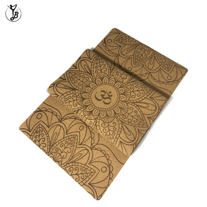 Custom full color laser engraving printing no fade anti-slip cork yoga mat
