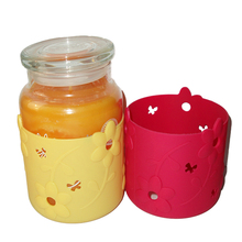 Wholesale glass candle holder with silicone sleeve