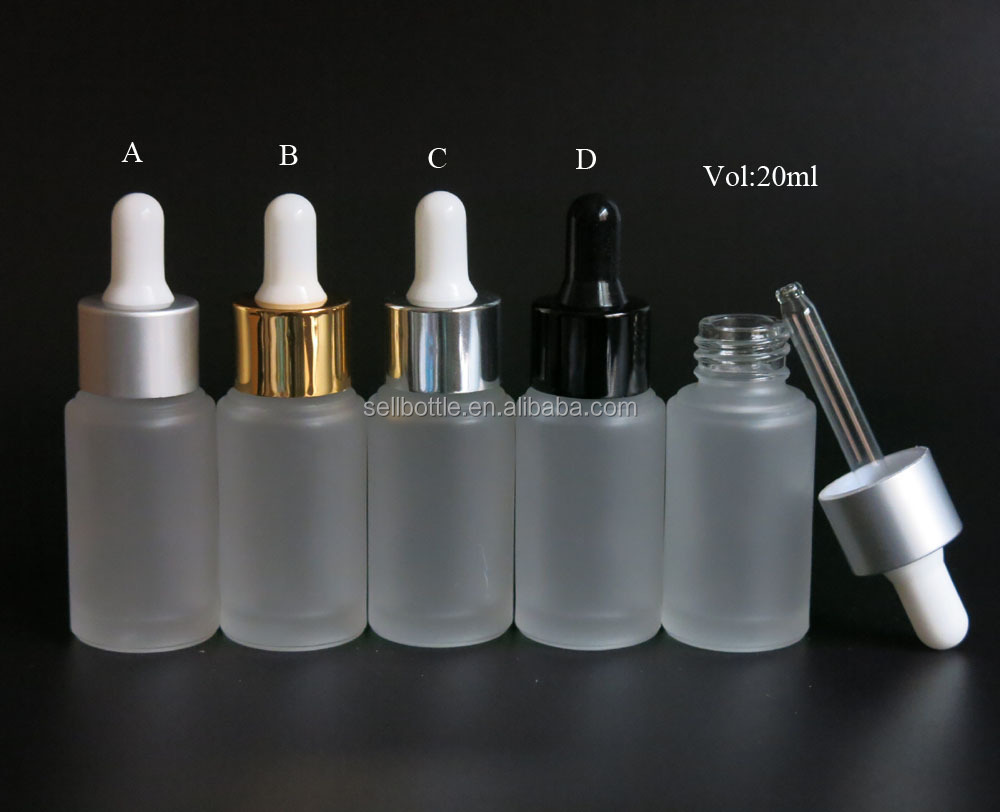 High quality good sale 20ml frosted essential oil cosmetic serum glass bottle