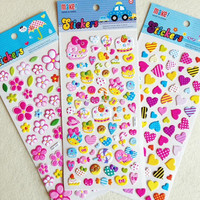 Eco-friendly favorable price custom full color printing girls dress up removable sponge bubble water puffy sticker