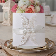 indian / arabic paper crafts Butterfly Ribbon decorating Laser Cut paper Wedding / birthday Invitation card PK838_WH