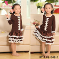 Long Sleeve Coffee Children Remake Clothing Cotton Dress Kids Baseball Dresses