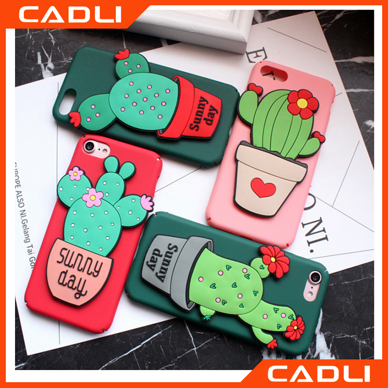 Matte Hard PC 3D Cute Cartoon Plant Cactus Cellphone Case For Iphone 7 /7plus With Holder