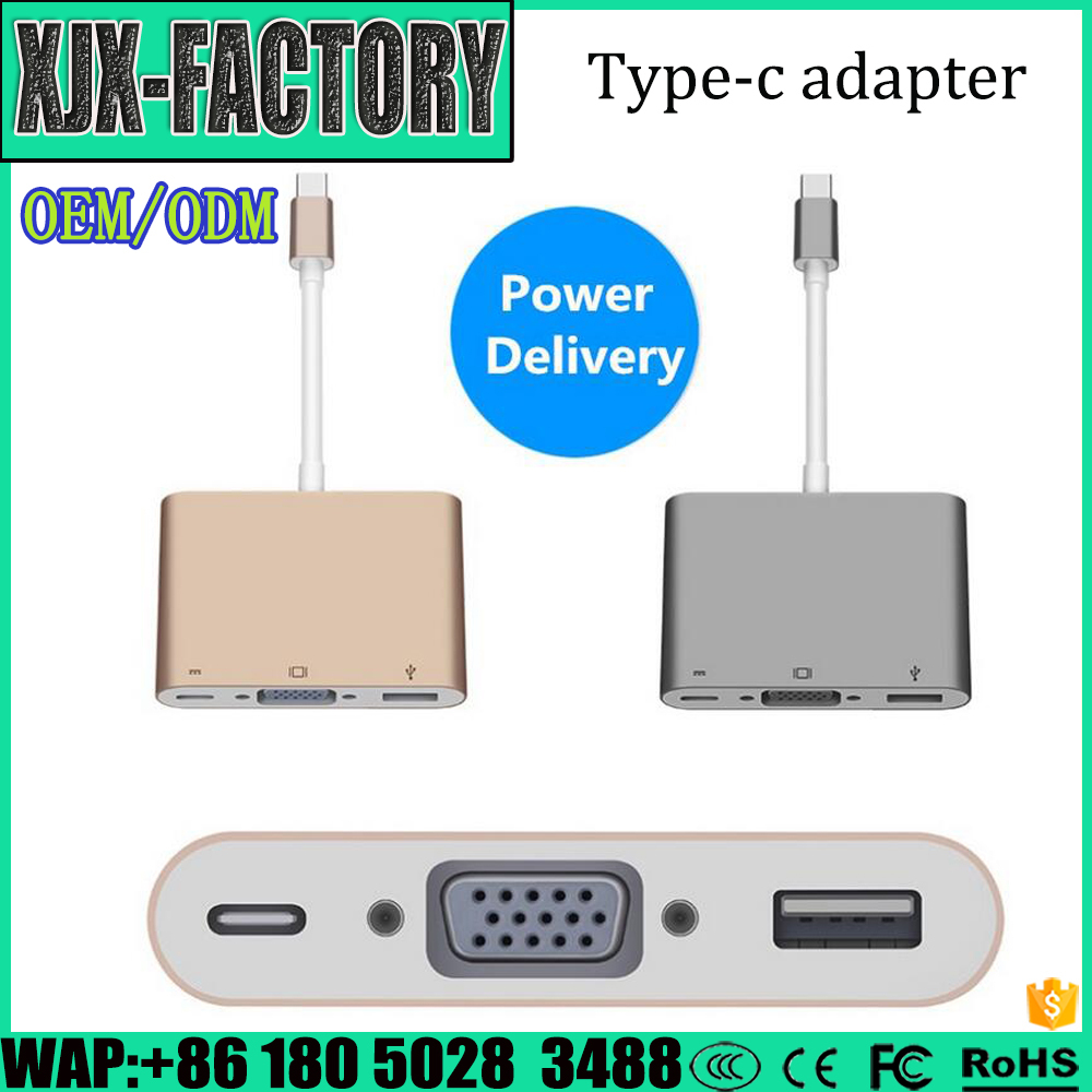 Top 3 factory!China Best 100% China factory supply type C hub adaptor cable type-c to vga with pd and usb3.0 adapter