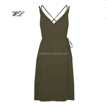 Sexy ladies strap summer slip dress women summer wrap front dress