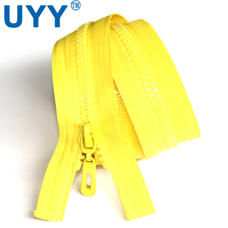 Clothing accessories yellow plastic zipper open end 70cm 5# resin zipper for clothing placket