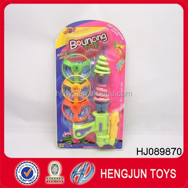 funny plastic flashing toy bouncing top with gun for peg-top
