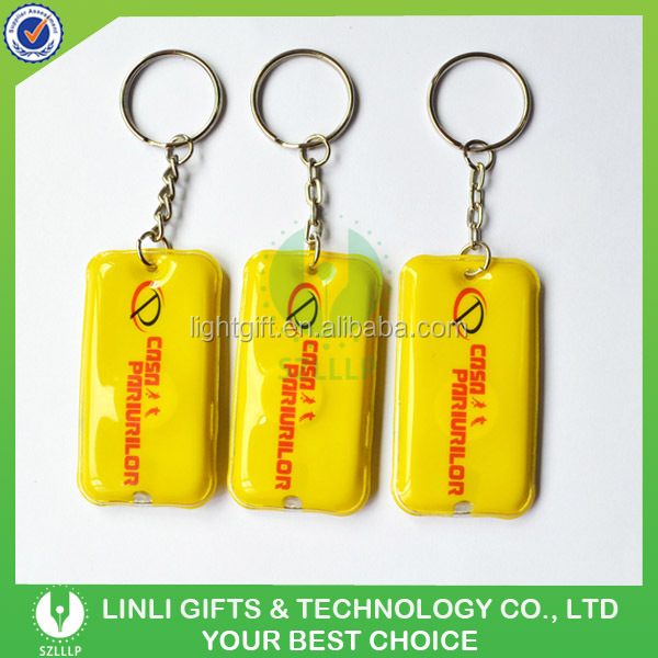 Cheap Give-away Gifts LED PVC Keyring with Custom Logo