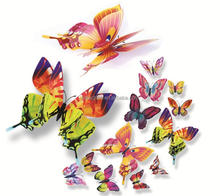 Custom Beautiful Vivid Wall Sticker Butterfly For Room Decoration PVC Butterfly