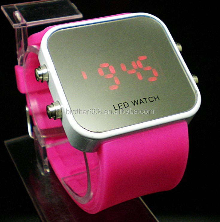 Pink Luxury Sport Style LED Digital Watch Mirror Surface Silicone for Lady Men