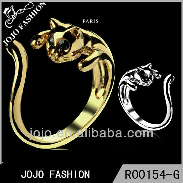 Cat design gold ring cute cat ring cat ring