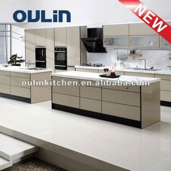 2012Popular lacquer&MDFkitchen cabinet glass doors