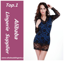 mature women Long sleeves lace brocade babydoll lingeries sexy blue nighty